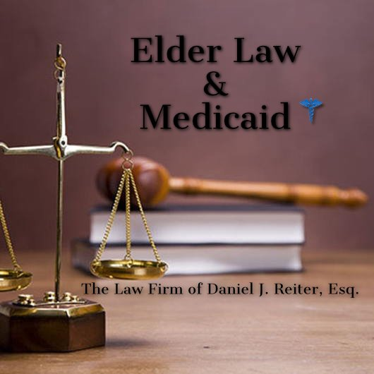 Justice Scales & Gavel with the Words Elder Law Medicaid
