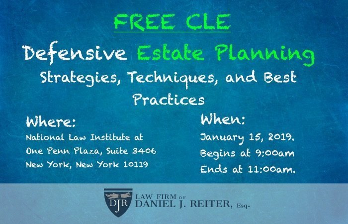 FREE CLE ESTATE PLANNING JAN 2019